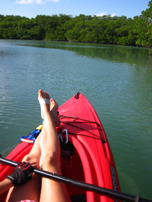 relaxing in the kayak