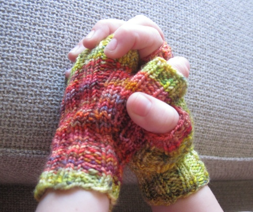 folded hands fingerless mittens